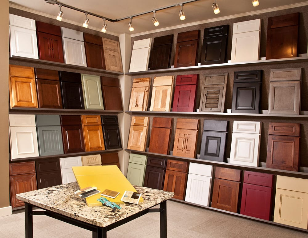 Cabinet Showroom in University Place, WA showing different cabinet door styles for sale